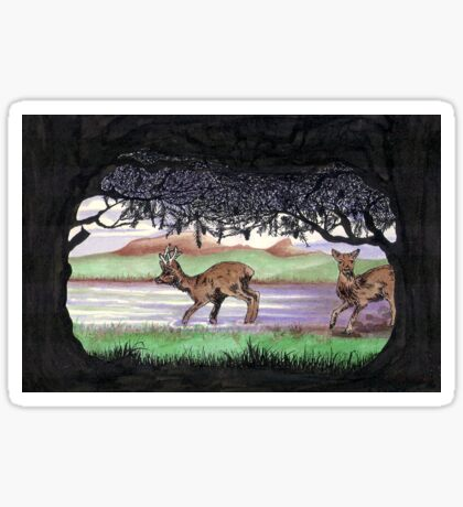 Out of the Forest II `Roe Deer in Morayshire Sticker