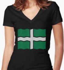 Devon flag Women's Fitted V-Neck T-Shirt