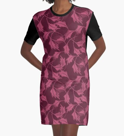 Falling Autumn Leaves In Plum Graphic T-Shirt Dress