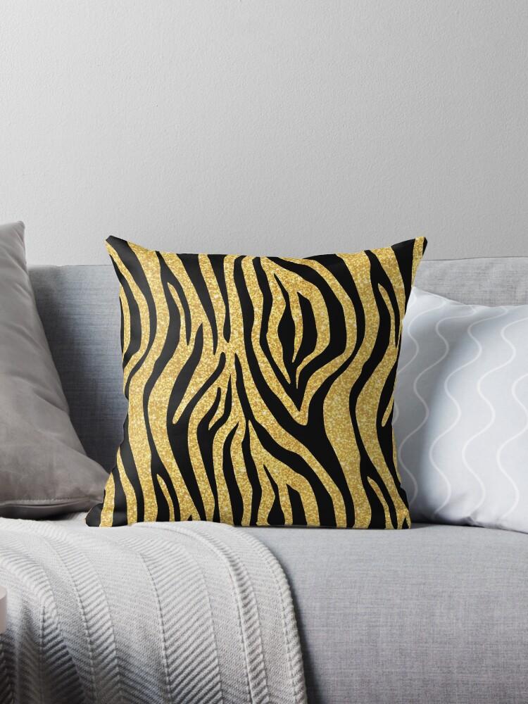 Gold Glitter Black Zebra Stripes Animal Print by limitlezz