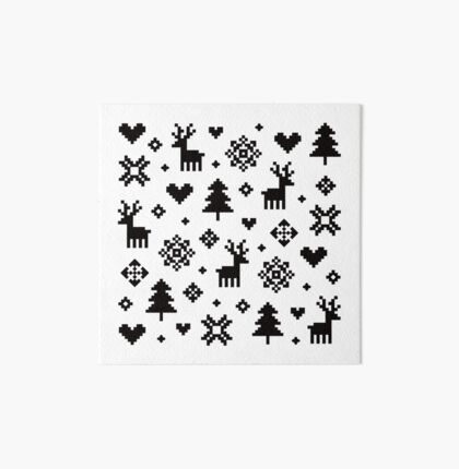 Pixel Pattern - Winter Forest - Black and White Art Board