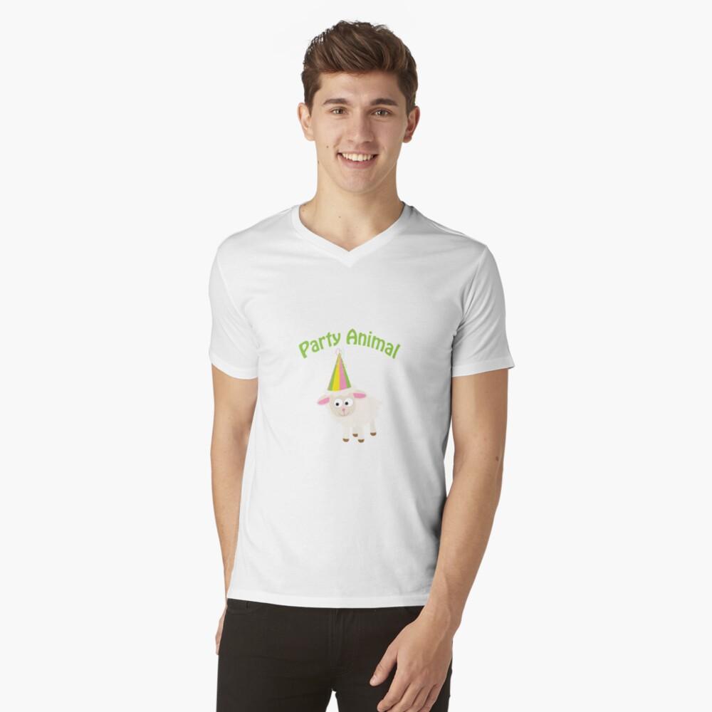 Partylöwe Lamm T-Shirt mit V-Ausschnitt