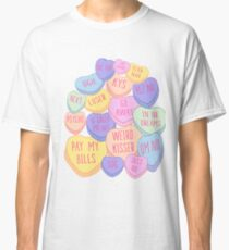 Mean Anti Valentines Day Candy Conversation Hearts Singles  Classic T-Shirt