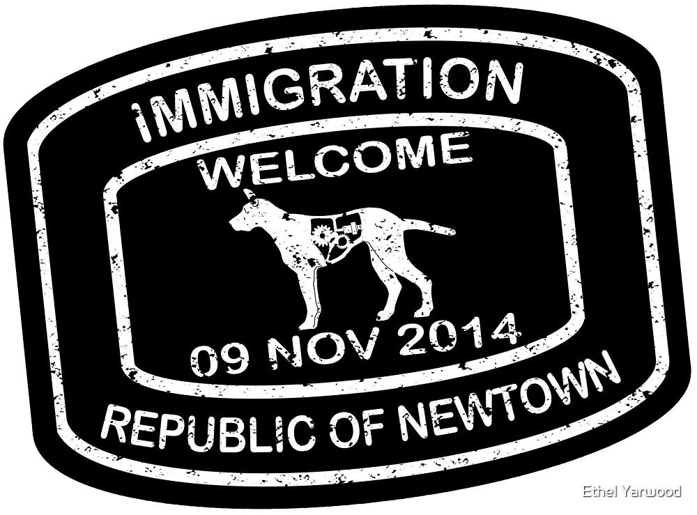 Republic of Newtown - 2014: Sticker White on Black by Ethel Yarwood