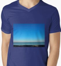 View of the sea and the horizon with the coastline Men's V-Neck T-Shirt