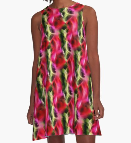 Abstract Red Pink And Green Design A-Line Dress