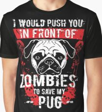 Funny Save My Pug Dog From Zombies Vintage Look  Graphic T-Shirt