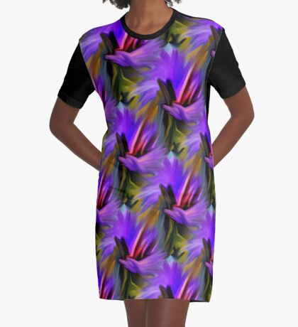 Purple Green  And Red  Abstract Strokes Graphic T-Shirt Dress