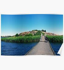 Wooden pier to the island. Bicycle on the wooden bridge. Karlskrona, Sweden Poster
