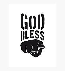 god bless you finger show hand funny god jesus logo design Photographic Print