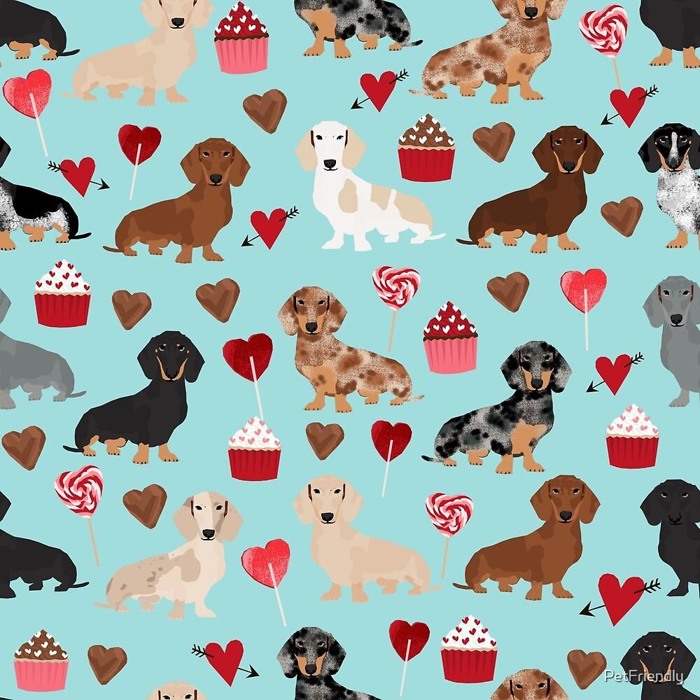 Dachsund dachsie doxie valentines day valentine hearts love cupcakes cute dog gifts by PetFriendly