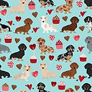 Dachsund dachsie doxie valentines day valentine hearts love cupcakes cute dog gifts by PetFriendly