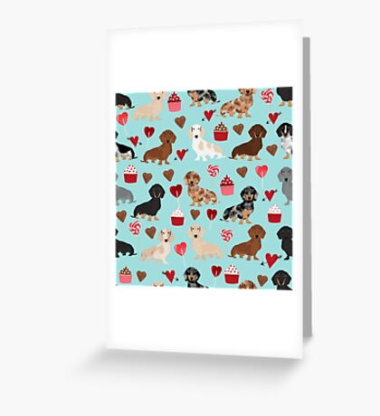 Dachsund dachsie doxie valentines day valentine hearts love cupcakes cute dog gifts Greeting Card