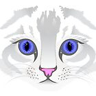 Cute white tabby cat face close up illustration by pixxart