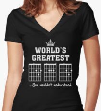 F chord DAD Funny Guitar Tee- Unique Father's Day Gift Women's Fitted V-Neck T-Shirt
