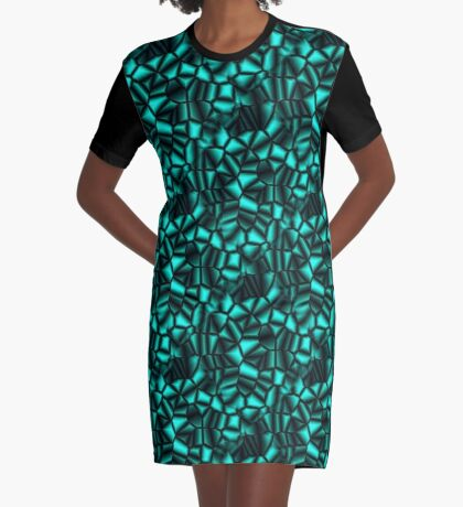 Geometric Turquoise Shapes Design Graphic T-Shirt Dress