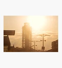 The abandoned skyscraper. Sunrise over the city Photographic Print
