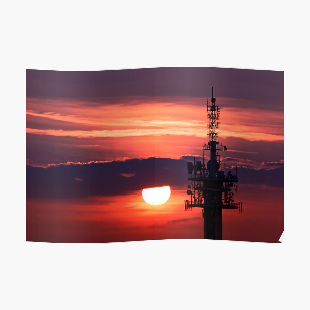 Steel tower with antennas with the beautiful red sunset as a background Poster