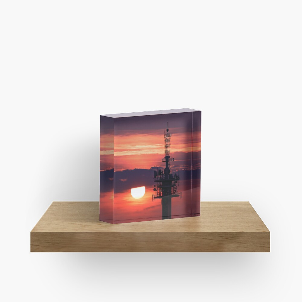Steel tower with antennas with the beautiful red sunset as a background Acrylic Block