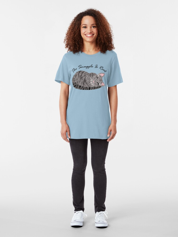 Alternate view of Gray Tabby Cat The Snuggle Is Real Slim Fit T-Shirt