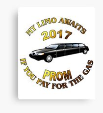 Class Of 2017 Prom My Limo Awaits Canvas Print