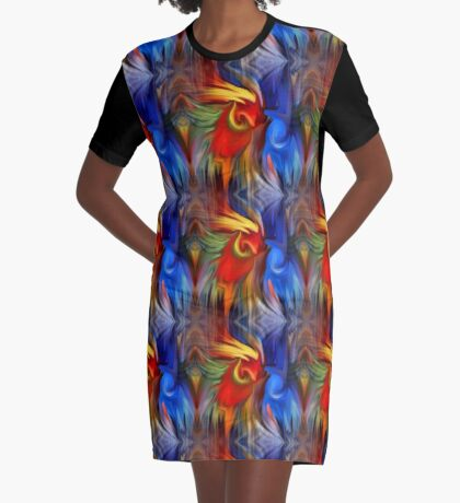 Abstract Red Blue Yellow Green Design Graphic T-Shirt Dress