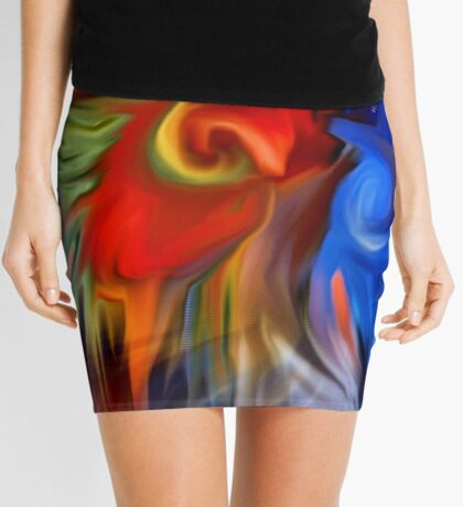 Abstract Red Blue Yellow Green Design Mini Skirt