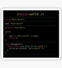 Hello World in Multiple Languages Sticker