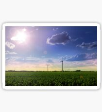 Landscape of windmill farm with a beautiful sunny blue sky Sticker