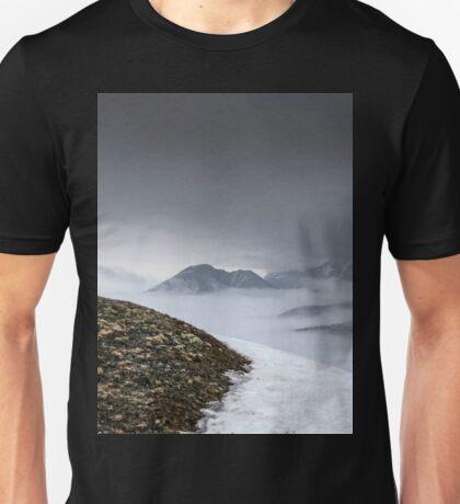 Dark mountain landscape. Snowy mountains in the deep fog. No Man's land Unisex T-Shirt