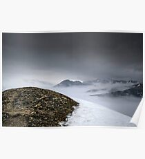 Dark mountain landscape. Snowy mountains in the deep fog. No Man's land Poster