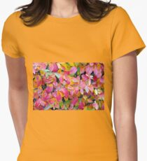Background of vivid red leaves of autumn bush close-up Womens Fitted T-Shirt