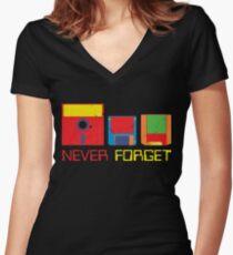 Never Forget Digital Data Formats Women's Fitted V-Neck T-Shirt