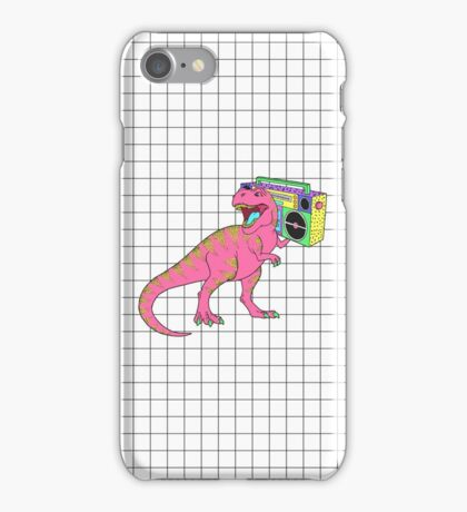 Tyrannosaurus rex with boombox in retro 80s style iPhone Case/Skin