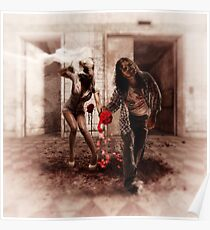 Happy Bride and Zombie Groom Poster