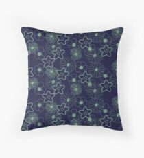 Stunning Glowing Flowers in Navy and Mint Throw Pillow