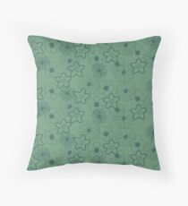 Stunning Glowing Flowers in Light Green and Blue Throw Pillow
