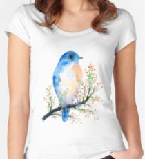 Watercolor Blue Bird on Berry Branch  Women's Fitted Scoop T-Shirt