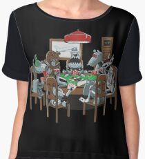 Robot Dogs Playing Poker Women's Chiffon Top