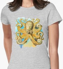 Cool Octopus - Sea Ocean or Navy Style Cartoon Drawing Women's Fitted T-Shirt