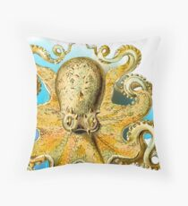 Cool Octopus - Sea Ocean or Navy Style Cartoon Drawing Throw Pillow
