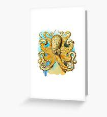 Cool Octopus - Sea Ocean or Navy Style Cartoon Drawing Greeting Card