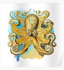 Cool Octopus - Sea Ocean or Navy Style Cartoon Drawing Poster