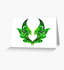 like a bird's head and wings ornaments Greeting Card