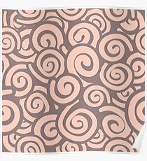 Conceptual Swirls in Light Pink and Mocha Poster