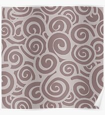 Conceptual Swirls in Mocha and Brown Poster