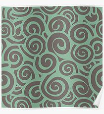 Conceptual Swirls in Mint and Mocha Poster
