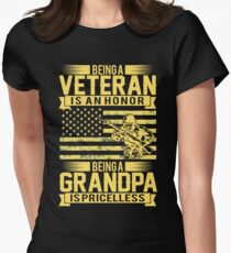 Being A Veteran Is An Honor But A Grandpa Is Priceless Women's Fitted T-Shirt