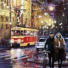 Prague Masarykovo Nabrezi Evening Walk by Yuriy Shevchuk