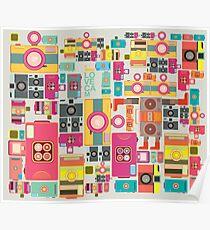 VIntage camera pattern wallpaper design Poster
